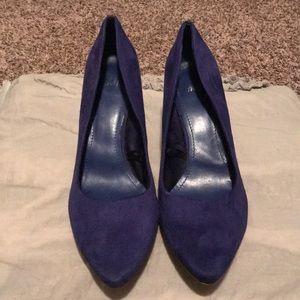 H&M Shoes - Blue suede H&M heels size 10